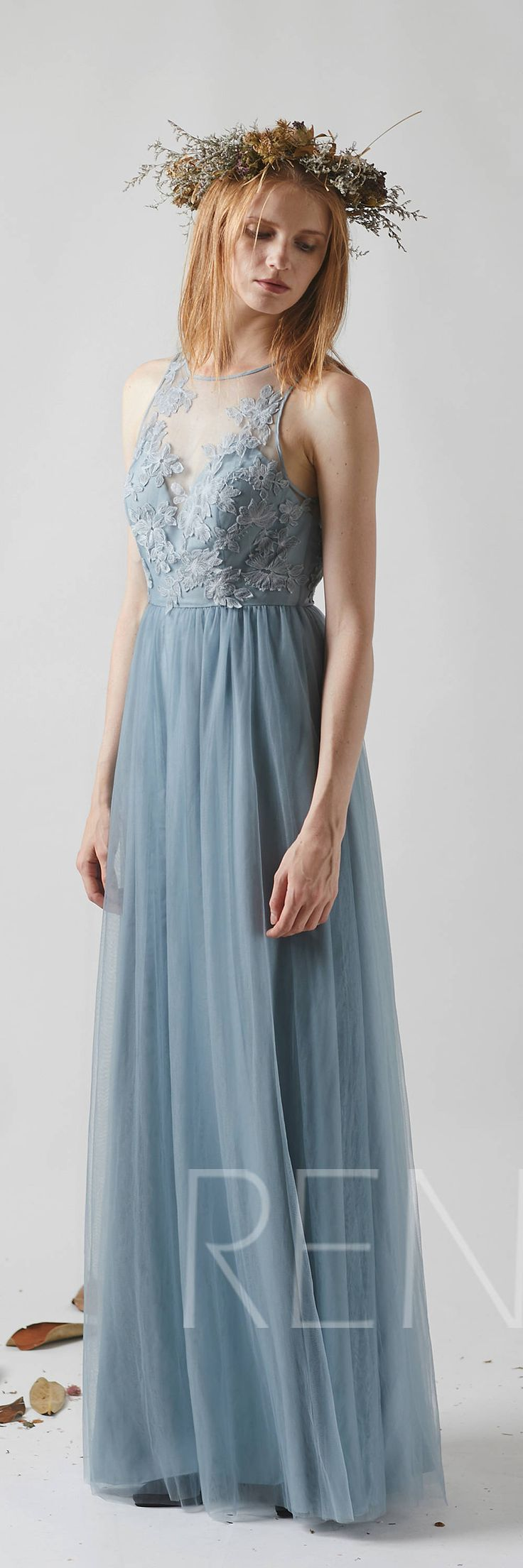 Dusty Blue Tulle Bridesmaid Dress, Sexy Lace Illusion Wedding Dress, Boat Neck Prom Dress,Key Hole Back Evening Dress Floor Length (LS351)