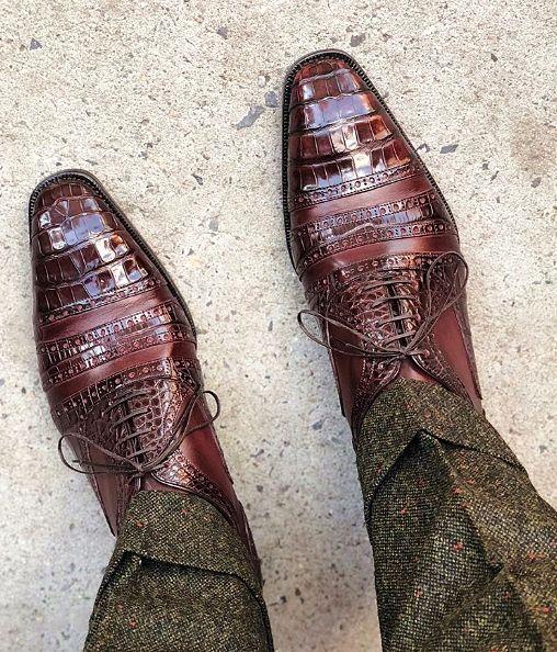 Genuine Alligator Skin Cap-Toe Oxford Shoes