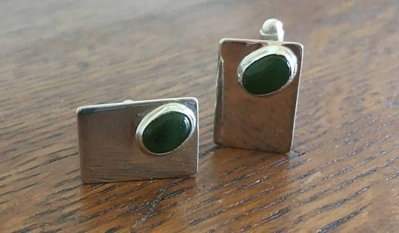 Bar:  Jade and Sterling Silver Cufflinks