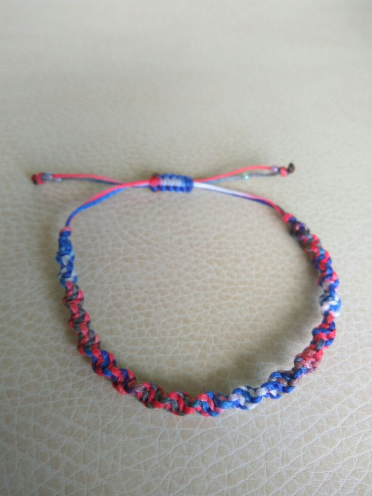 Red,  blue and white dna macrame bracelet!