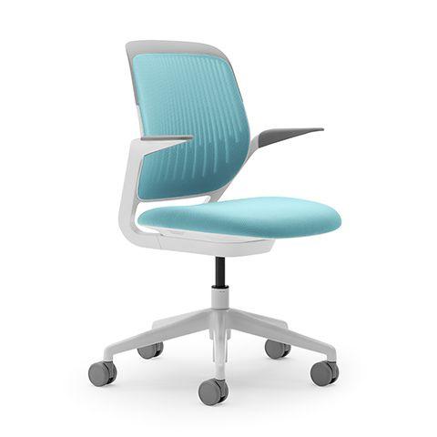 @poppin Aqua Cobi Desk Chair with White Frame | Modern Office Furniture | Poppin #deskchair