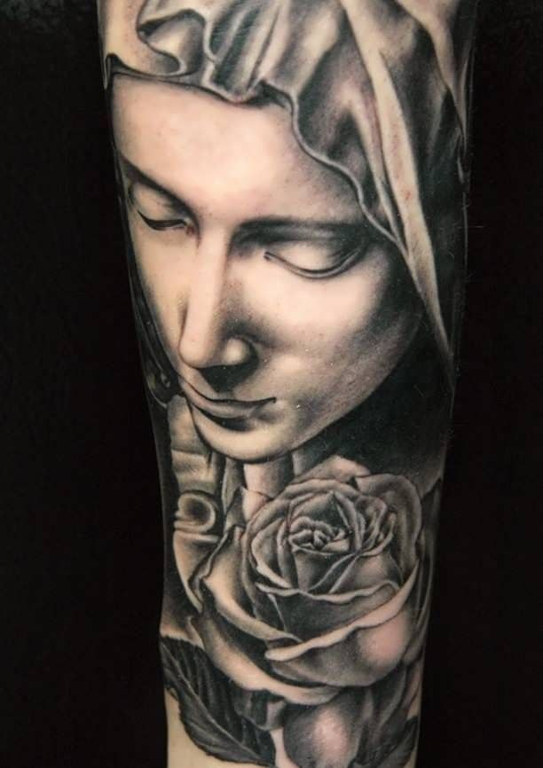 Tattoo of the Madonna with a Rose  - http://tattootodesign.com/tattoo-of-the-madonna-with-a-rose/  |  #Tattoo, #Tattooed, #Tattoos