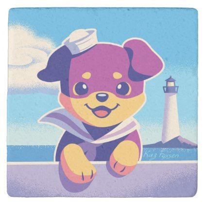 #Rottweiler Puppy Sea Dog Sailor Stone Coaster - #rottweiler #puppy #rottweilers #dog #dogs #pet #pets #cute