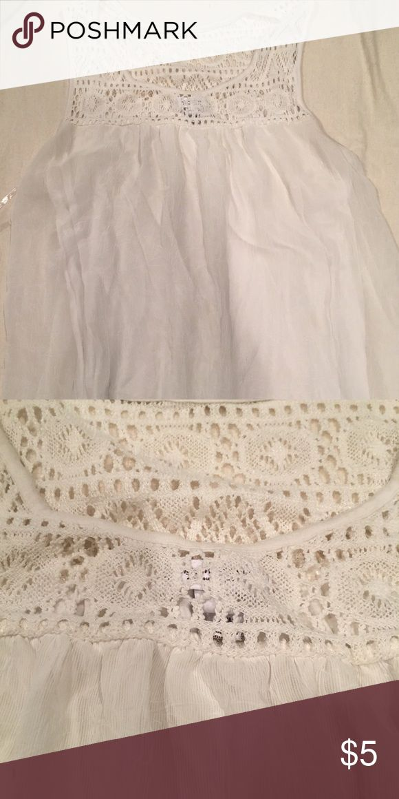Liz Lange for Target Maternity Tank Top Flowy chiffon tank top with crochet detail at the top!  Great tank top and wearable post-partum!  Creamy-white color. Liz Lange for Target Tops Tank Tops
