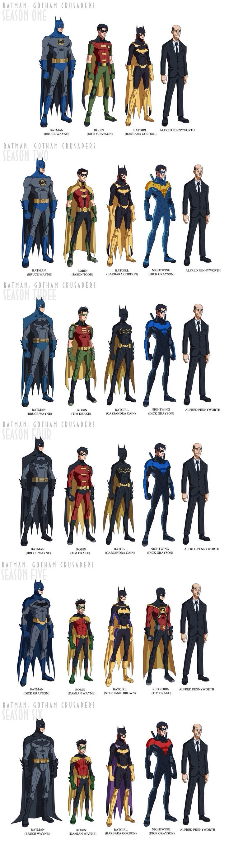 I think that alfred looks the best among all of them. His fashion sense remains absolutely classy throughout all six seasons.