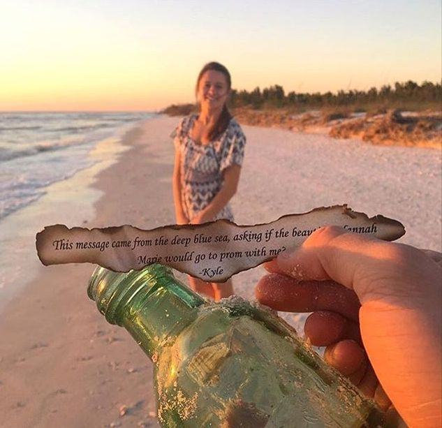 "Promposal Ideas – ""No Brainer"" Ways to Ask Someone to Prom  Message in a bottle Promposal"
