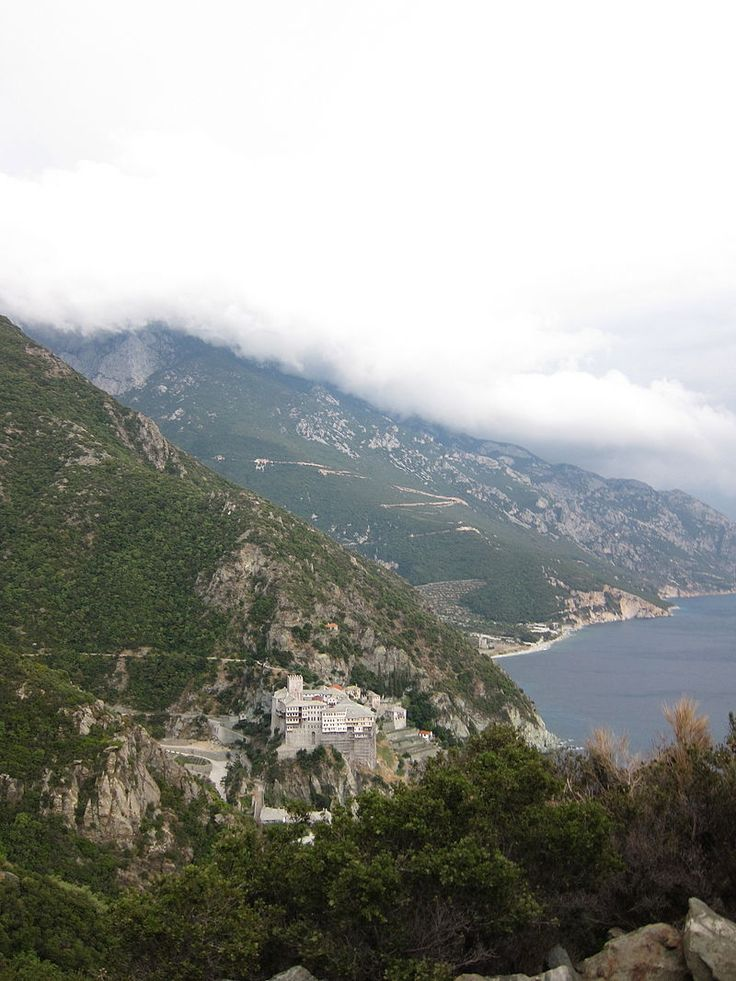 Dionysiou monastery from adjacent hill - Dionysiou Monastery - Wikipedia, the free encyclopedia