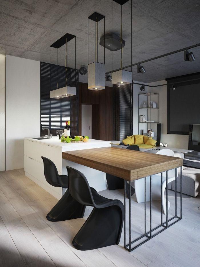 implantation cuisine avec un ilot central table en bois et métal - Cuisine Amenagee Avec Ilot