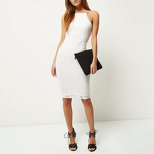 White lace bodycon dress - bodycon dresses - dresses - women
