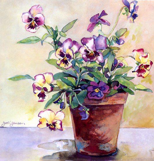 Jodi Jensen - watercolor pansies