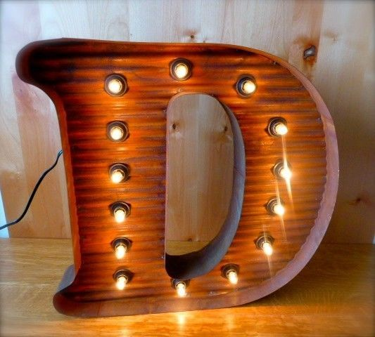 "LG BROWN VINTAGE STYLE LIGHT UP MARQUEE LETTER D, 24"" TALL novelty rustic sign  #RusticPrimitive"
