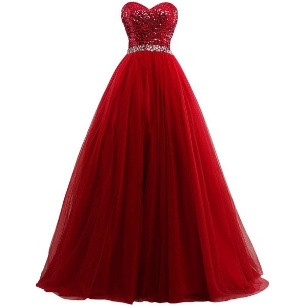 Amazon.com: Lowime Women's Ball Gown Tulle Quinceanera Dresses 2016... (£85) ❤ liked on Polyvore featuring dresses, gowns, red tulle dress, red ball gown, tulle gown, tulle dress and prom dresses