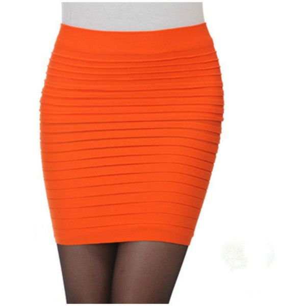 Women's Anna Cavalary Anna Women's Sexy Slip-On Pleated Stretch Pencil... ($7.99) ❤ liked on Polyvore featuring skirts, mini skirts, orange, sexy short mini skirts, orange pencil skirt, mini pencil skirt, short pencil skirt and short skirts