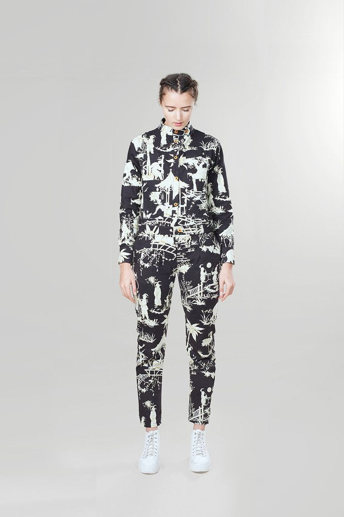Churchill Siren Suit in Black & White Toile  hadjio.com  #hadjio #boilersuit #sire_suit #toile
