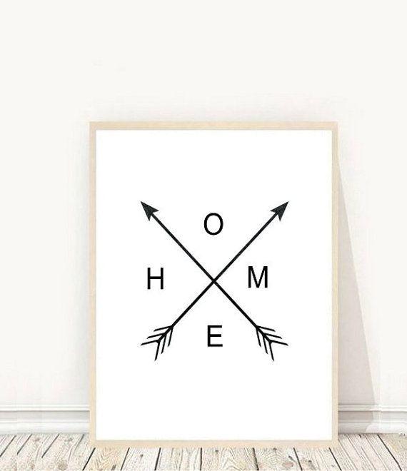 Black and White Home Arrow Print, Wall Prints, Printable Wall Art, Home Print, Downloadable Wall Prints, Arrow Art, Home Print, Digital Art