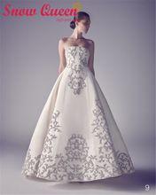 2016 роскошные свадебные платья без бретелек вышивки бисером жемчуг платье-линии свадебные платья элегантные невесты платья Vestidos Novias(China (Mainland))