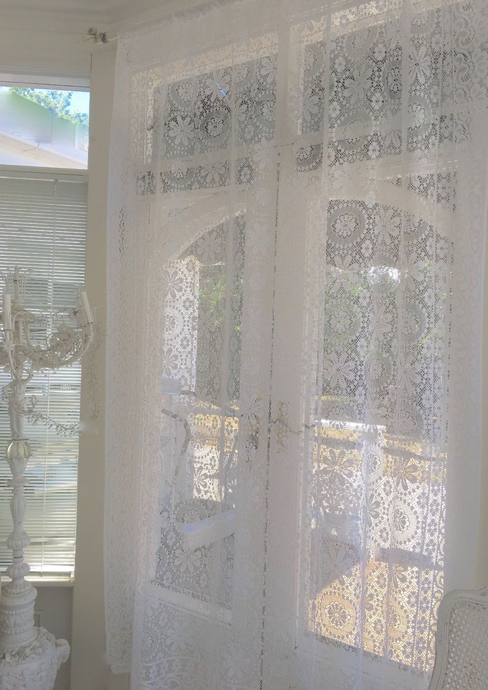 Shabby French Home Window Curtain Drape Vintage White Lace Panel Chic More Avail