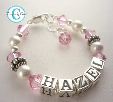 Pink crystal name bracelet for girls any age or colors for Baby jewelry near me