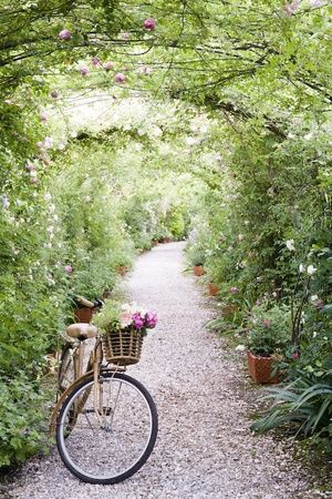 beautiful path to ride...: Secret Gardens, Company Picnics, Bike Riding, Summer Picnics, Gardens Paths, Modern Gardens Design, Arches, Place, Bicycle