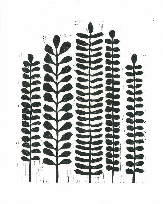 "LINOCUT PRINT - Black & White Fern Print - Modern Botanical Print 8""x10"""