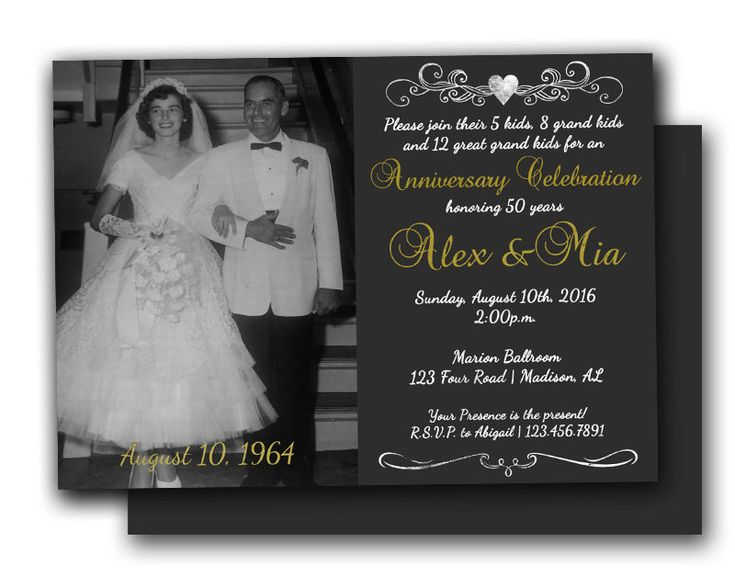Chalk Photo 50th Anniversary Invitations By PartyPrintExpress