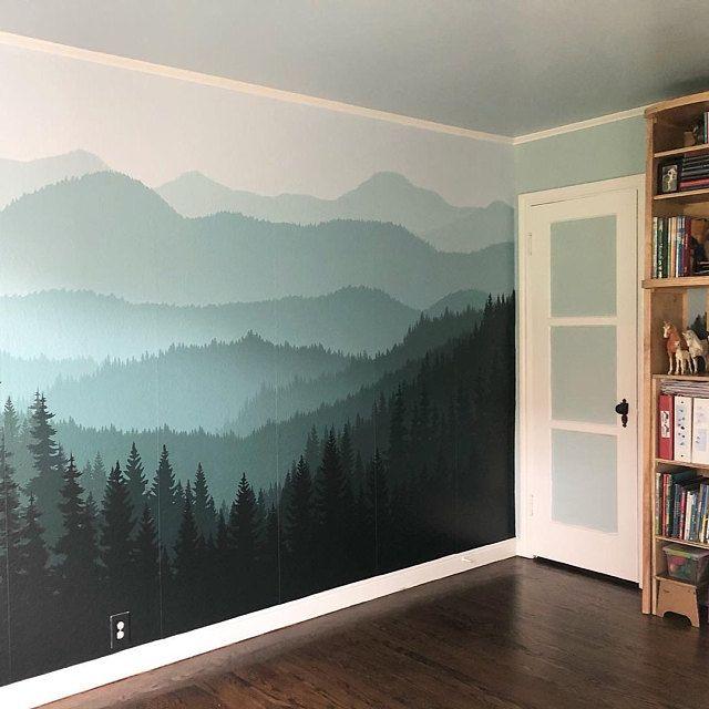 Removable Peel N Stick Wallpaper Self Adhesive Wall Etsy Mountain Mural Wall Murals Diy Tree Wall Murals