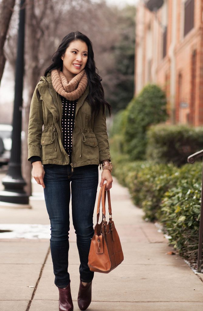 cute & little blog | fall winter layering outfit | tan cowl scarf, utility jacket, black gold studded sweater, rag bone skinny jeans, ankle boots