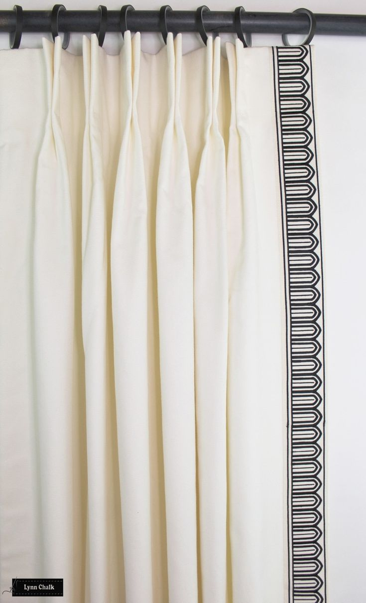 Schumacher Arches Embroidered Tape Custom Drapes Shown In