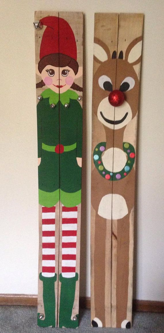 reclaimed wood pallet santa mrs claus rudolph elf by