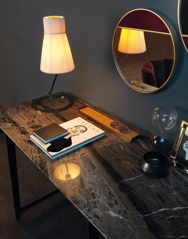 B195 writing table by BORZALINO - Metal base and marble top - #coffee tables #furniture #sofa #chair #armchair #carlobimbi