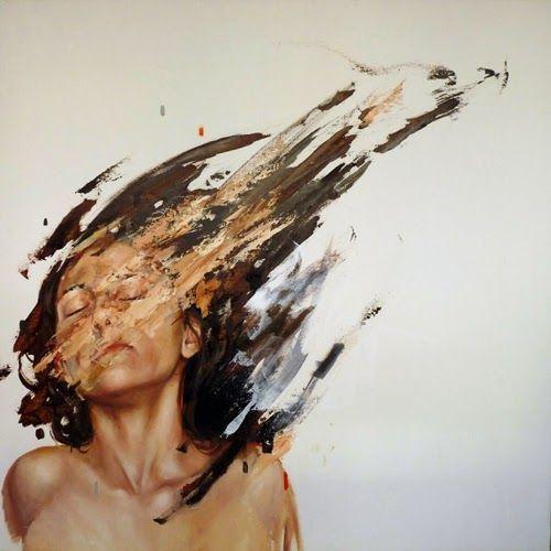 """坂井直樹の""""デザインの深読み"""": Cesar Biojoの美しい女性の肖像画は、ブラシのストロークで、折角描いた絵を自ら破壊し創造と破壊の間を往来する。"""
