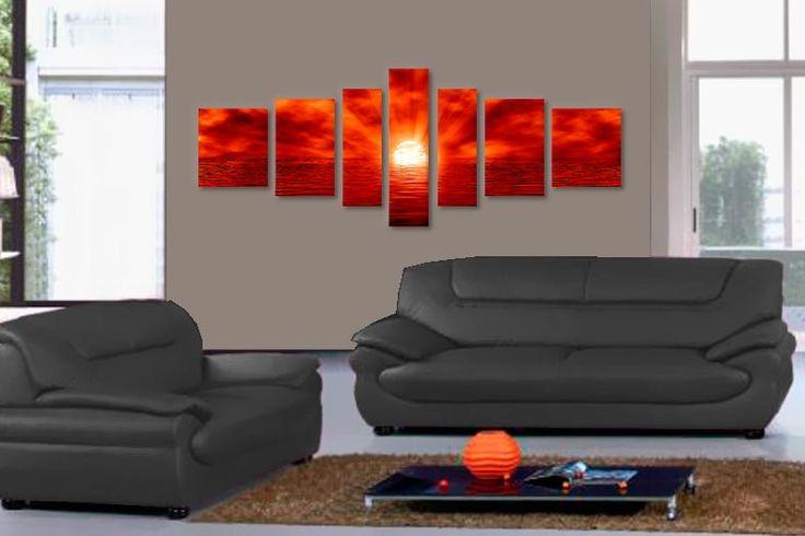 Tablouri apus in 7 piese 40200  Dimensiuni: 2x 35x40 + 2x 30x50 + 2x 20x60 + 1x 20x70 cm  Total ocupat: 190x70 cm