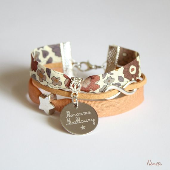 Bracelet liberty gravé - infini, étoile - gravure médaille - création personnalisée - tissu marron, brun, moka, beige
