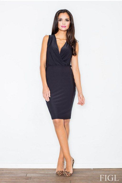 Seksowna ołówkowa sukienka w kolorze czarnym