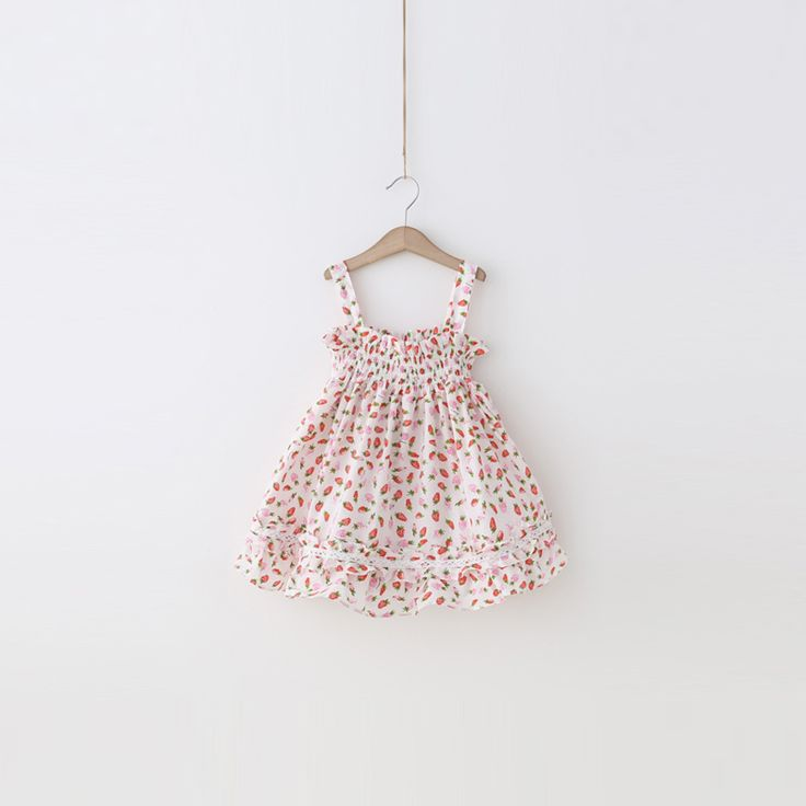 ==> [Free Shipping] Buy Best Baby  red bayberry children's clothing 2017 new summer prints full of strawberry straps dress baby dress Online with LOWEST Price | 32816567923
