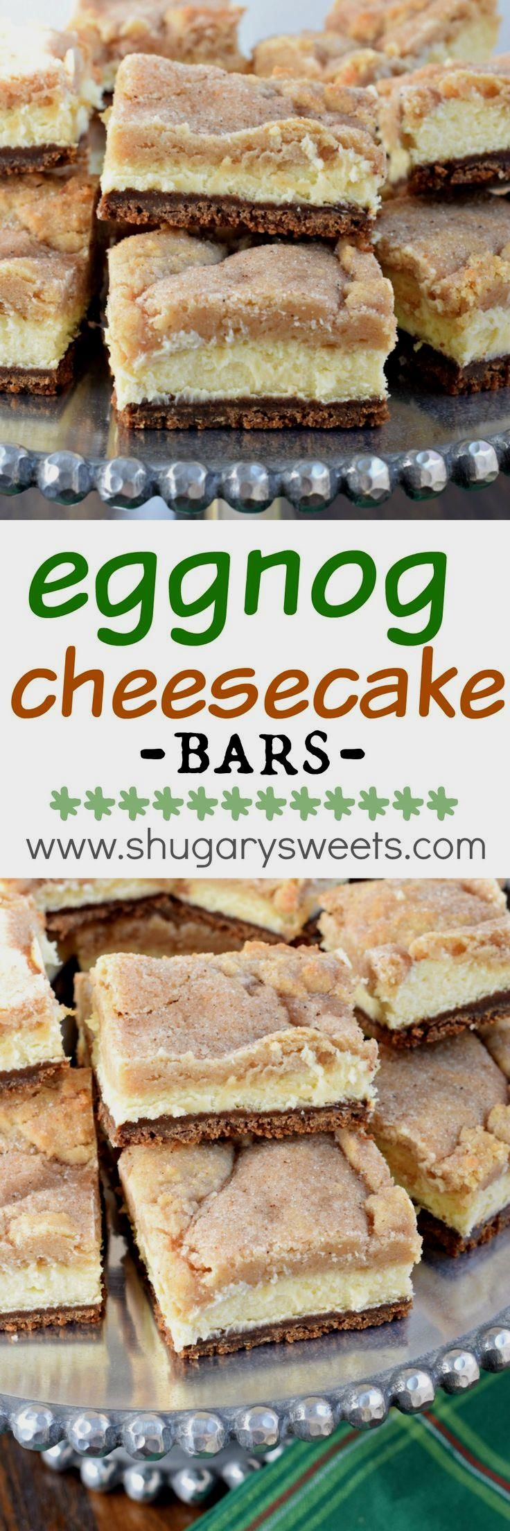 Layered Eggnog Cheesecake bars with a gingersnap crust…