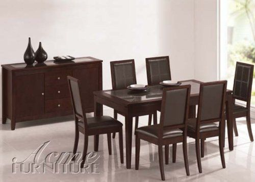 Albury 7-Pc Dining Set by Acme by Acme Furniture. $874.99. Albury 7-Pc Dining Set by Acme The Albury Collection is perfectly transitional with its contemporary style and classic lines just right for any dining room. Crafted from solid hardwoods and veneers in a dark finish with dining chairs upholstered in a beautiful easy care bycast leather. Creates a dining room sure to delight the entire crowd for everyday dining or special occasions. The table has a glass table top framed ...