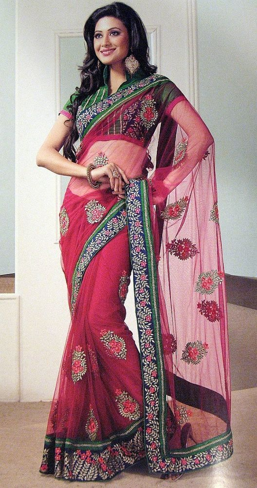 Beautiful Magenta Net Saree Exclusive Designer Party Sari Cocktail Dress India #Handmade Price:US $234.99
