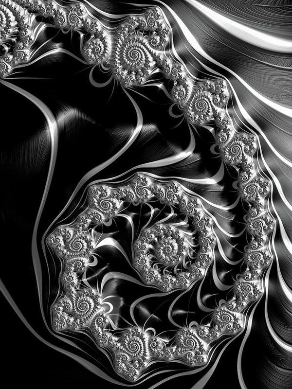 Fractal Steampunk Spiral Black And White Print: Contemporary abstract art based on a Fractal, Spirals in Steampunk style with gray, silver, white and black tones. All prints are professionally printed, packaged, and shipped within 3 - 4 business days. Choose from multiple sizes and hundreds of frame and mat options. (c) Fractal Art Prints by Matthias Hauser fractal-art-prints.com - Fractals for your Home Decor and Interior Design needs.