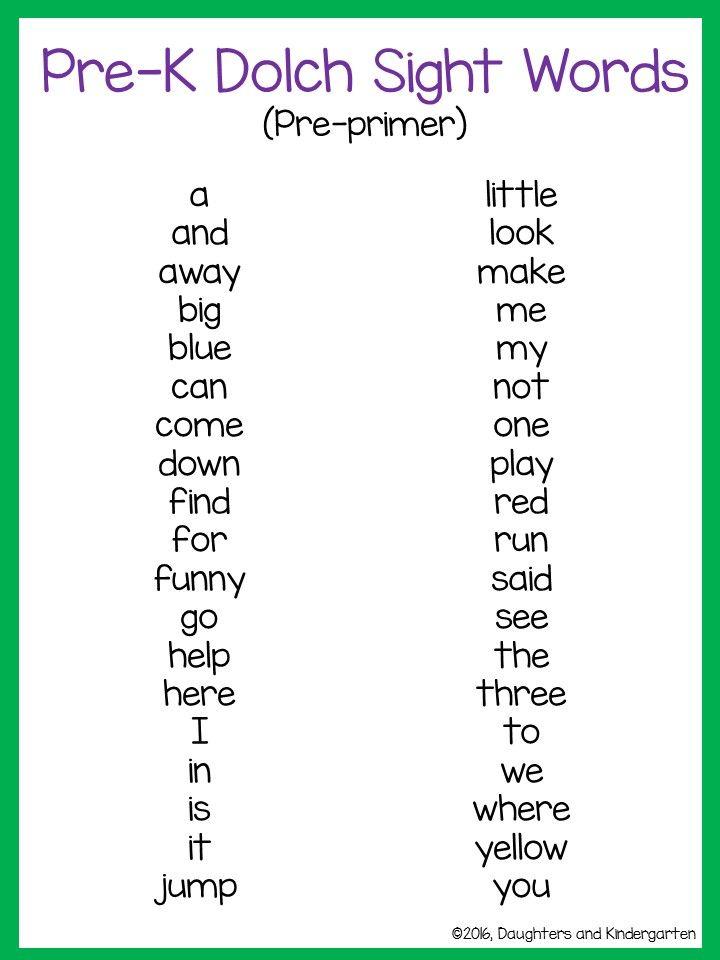 289de9681b4d1fe69d498cef4d30a4a1  dolch sight word list sight words list - I Words For Kindergarten
