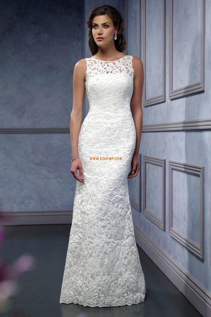 Obdélníkový Krajka Empírové Luxusní svatební šaty