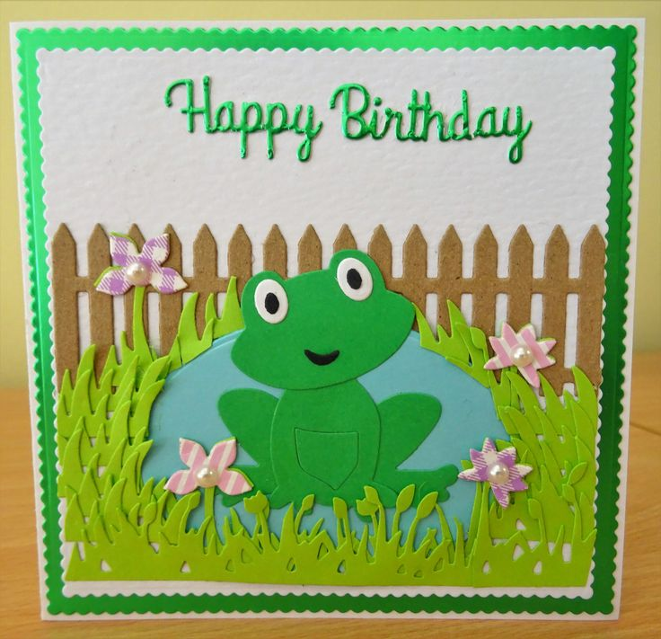 Handmade Birthday Card - Marianne Collectables Frog Die. For more of my cards please visit the CraftyCardStudio on Etsy.com.