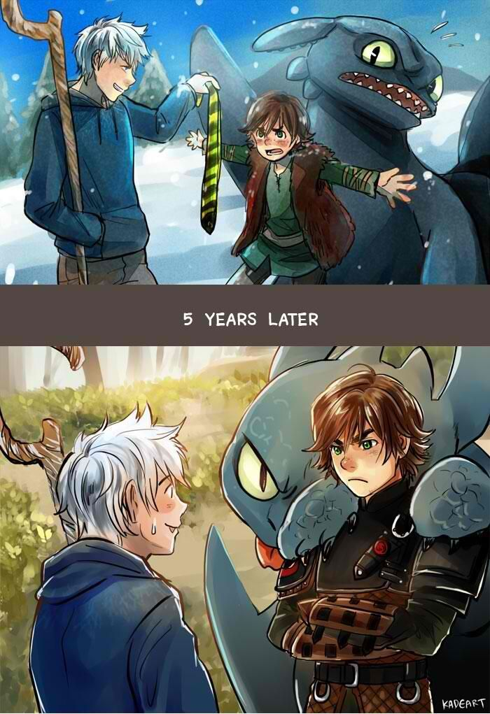 Jack: Hah! Hiccup: No get away from Toothless! (5 Years Later) Jack: Oh um heh Lets talk about this.. Hiccup: Yeah...