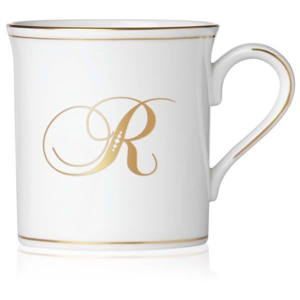 Lenox  Federal Gold Script Monogram R Mug (£33) ❤ liked on Polyvore featuring home, kitchen & dining, drinkware, white, tea cup, white mug, white tea mugs, white tea cups and monogram cups