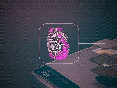 Enhanced security finger print scanner animated icon.  Instagram   Facebook   Behance