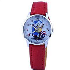 børns håndlangere mønster dial pu band quartz sød tegnefilm armbåndsur