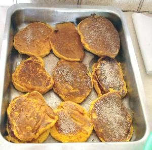 Ingredients: 2 cups boiled and mashed pumpkin (drain well after boiling and immediately mash) Approximately 3/4 cup flour 1/4 cup milk 1 egg 1 teaspoon cinnamon 2 tablespoons sugar Pinch of salt 1/...
