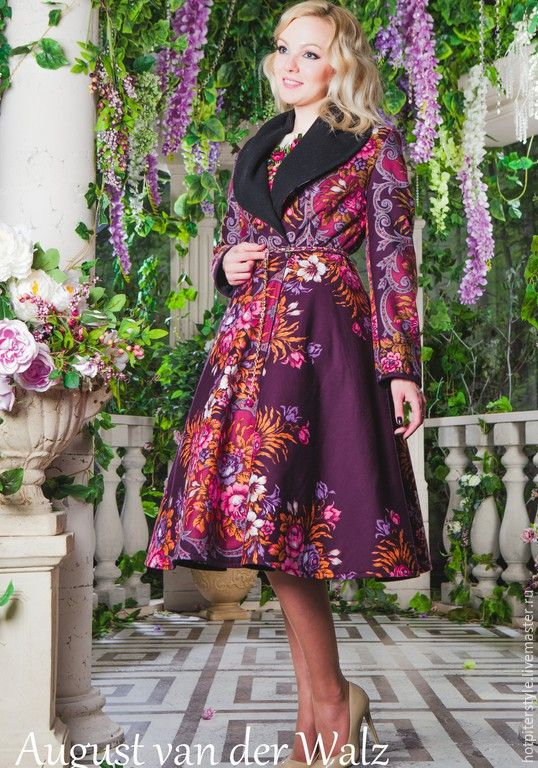 Купить Пальто в Русском Стиле - орнамент, пальто макси, пальто в пол, Весеннее пальто