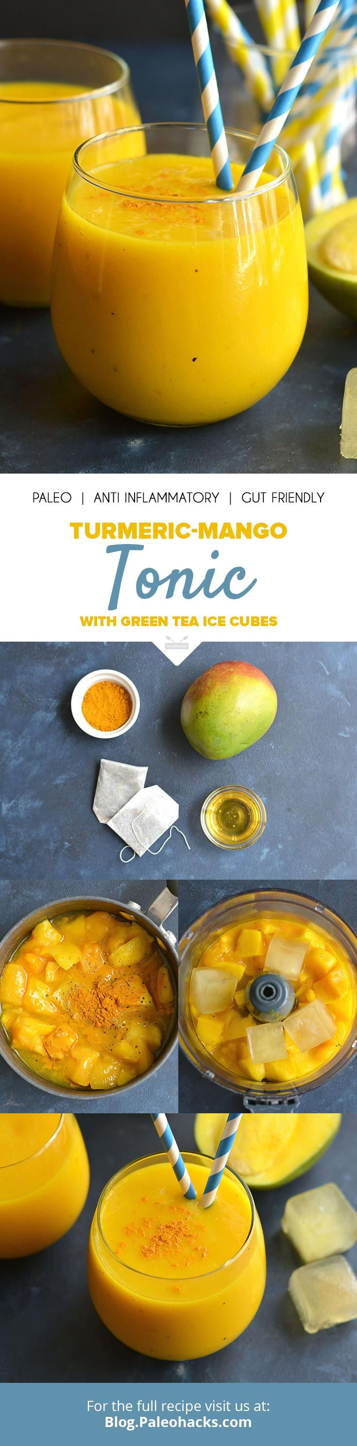 Treat your body to a sweet antioxidant and anti-inflammatory boosting drink with this Iced Mango Turmeric Tonic! Get the recipe here: http://paleo.co/turmericmangodrink