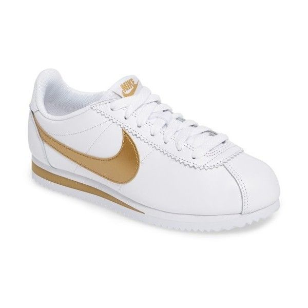 Women's Nike 'Classic Cortez' Sneaker ($70) ❤ liked on Polyvore featuring shoes, sneakers, white, white shoes, nike shoes, white summer shoes, chevron shoes and rubber sole sneakers